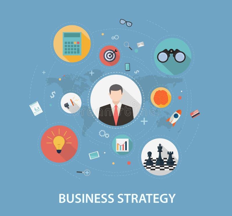 Estratégia empresarial no projeto liso do estilo ilustração do vetor