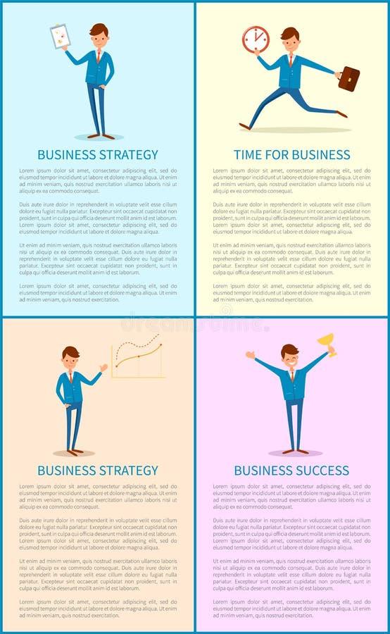 Estratégia empresarial, sucesso do chefe Holding Trophy ilustração royalty free