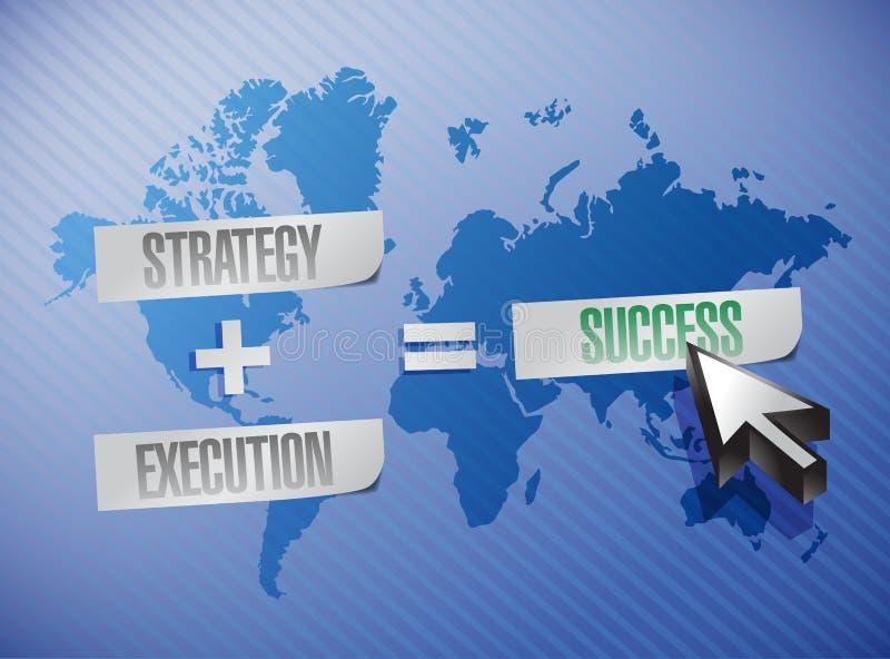 Estratégia, execução e ilustração do sucesso ilustração do vetor