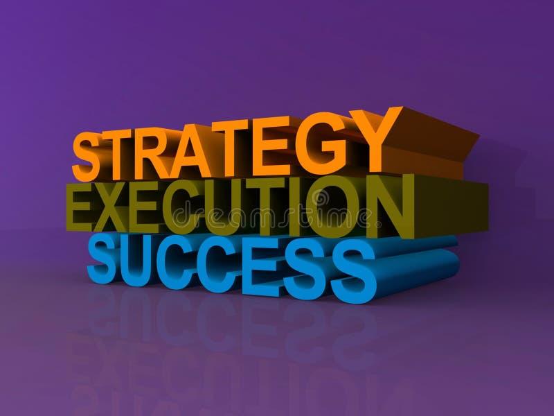 Estratégia, execução e sucesso ilustração stock