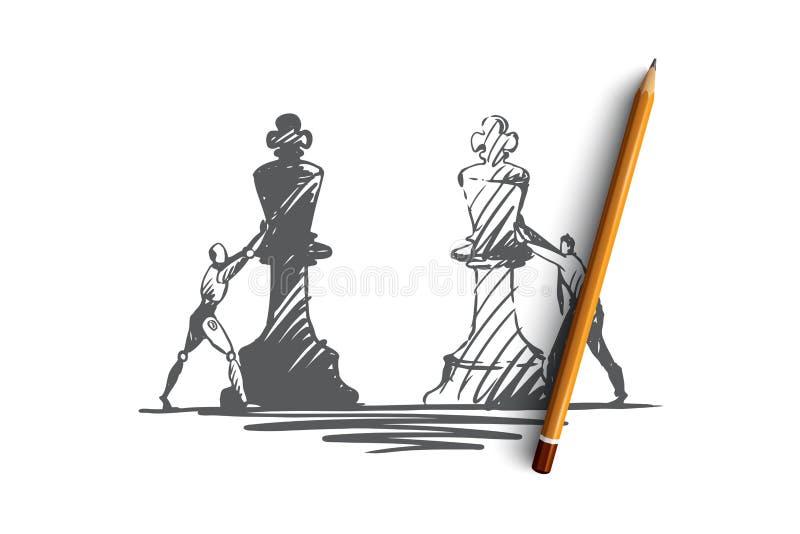 Estratégia, finalidade, HCI, automatização, tecnologia, conceito do homem de negócios Vetor isolado tirado mão ilustração royalty free
