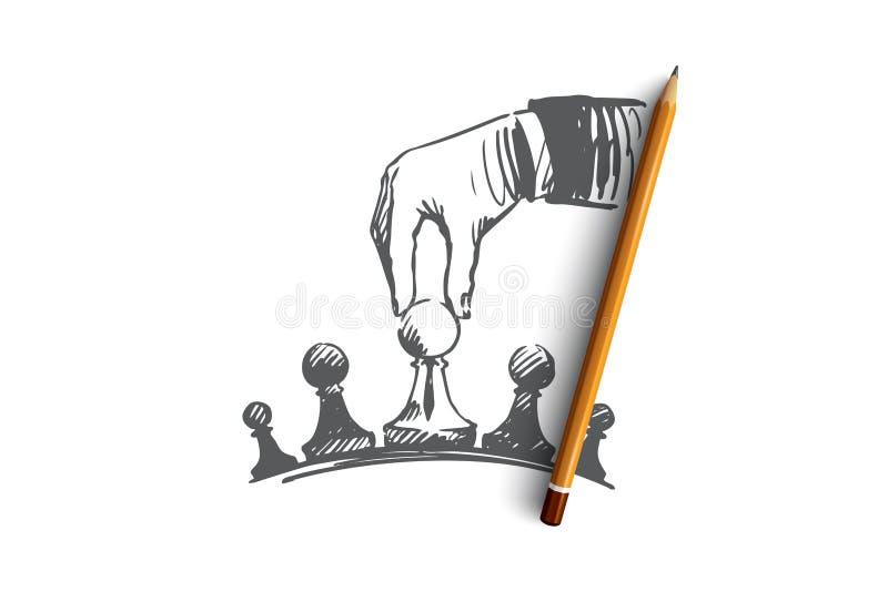 Estratégia, homem de negócios, táticas, conceito da superioridade Vetor isolado tirado mão ilustração royalty free