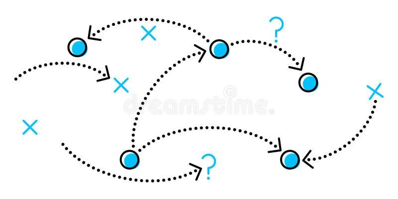 Estratégia, ilustração conceptiva limpa simples do vetor de linhas pontilhadas e setas ilustração do vetor