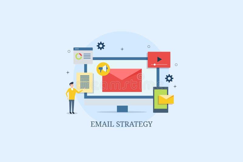 Estratégia tornando-se para clientes, desenvolvimento do e-mail do homem de negócios do índice do e-mail, vídeo digital para o me ilustração do vetor