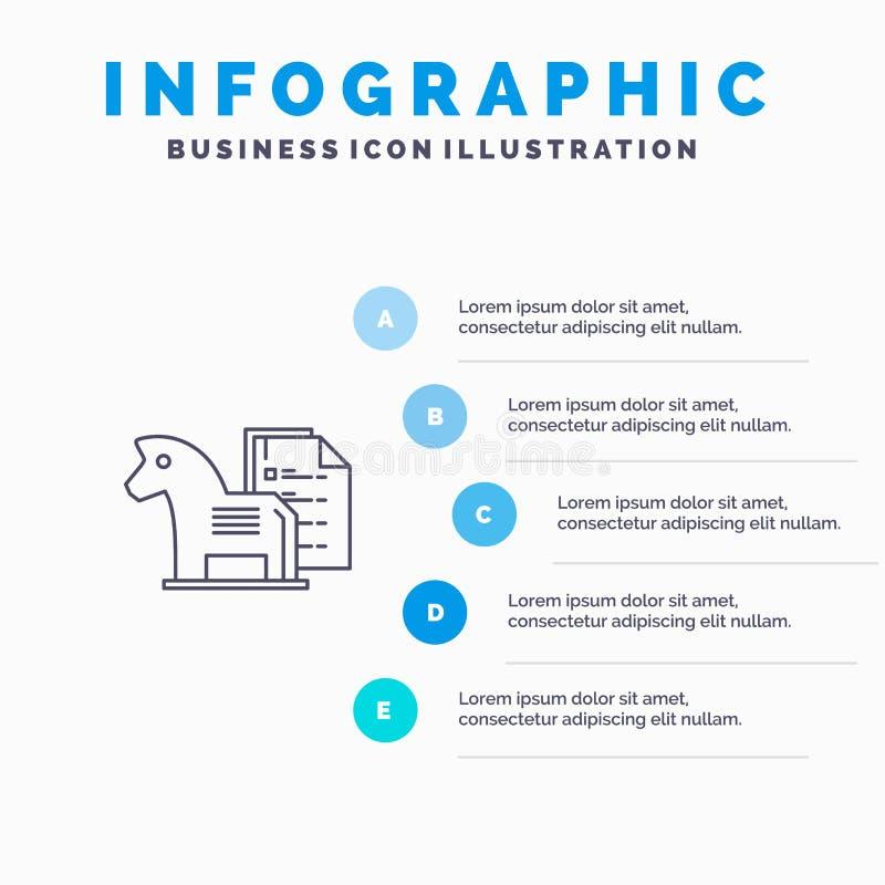 Estratégia, vantagem, negócio, xadrez, finança, linha ícone da tática com fundo do infographics da apresentação de 5 etapas ilustração stock