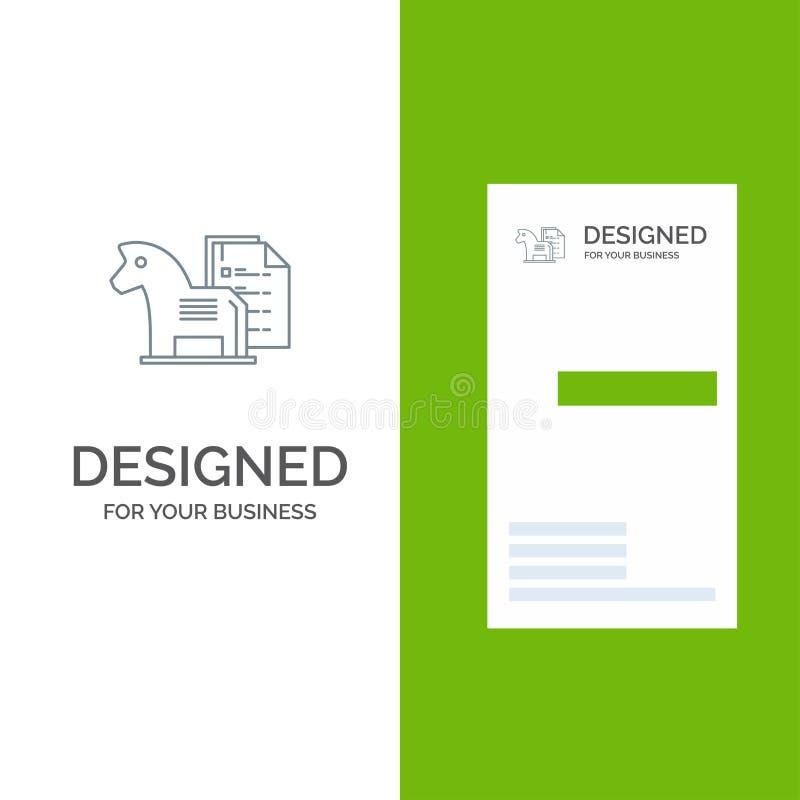 Estratégia, vantagem, negócio, xadrez, finança, tática Grey Logo Design e molde do cartão ilustração stock