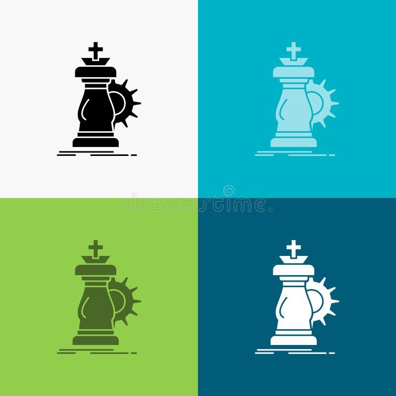 estratégia, xadrez, cavalo, cavaleiro, ícone do sucesso sobre o vário fundo projeto do estilo do glyph, projetado para a Web e o  ilustração stock
