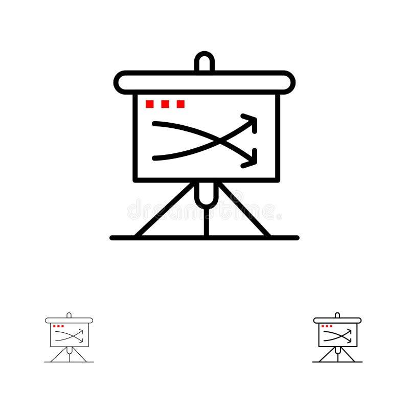 Estratégico, negocio, plan, planeamiento, represente la línea gráficamente negra intrépida y fina sistema del icono stock de ilustración