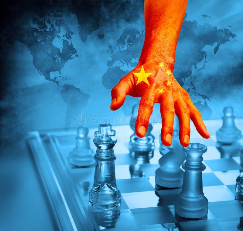 Estrategia china del ajedrez del comercio mundial de China fotos de archivo