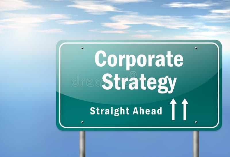 Estrategia corporativa del poste indicador de la carretera stock de ilustración