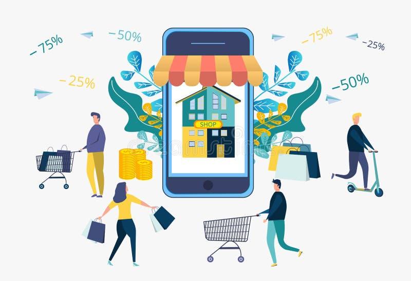 Estrategia de desarrollo de negocios Descuentos en los servicios, plazo Atracción de clientes, compradores La tienda dibuja a gen libre illustration