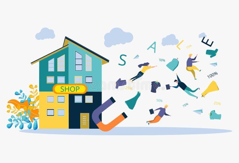 Estrategia de desarrollo de negocios Descuentos para los servicios, plazo El imán atrae a la gente, cosas, números, muestras ilustración del vector