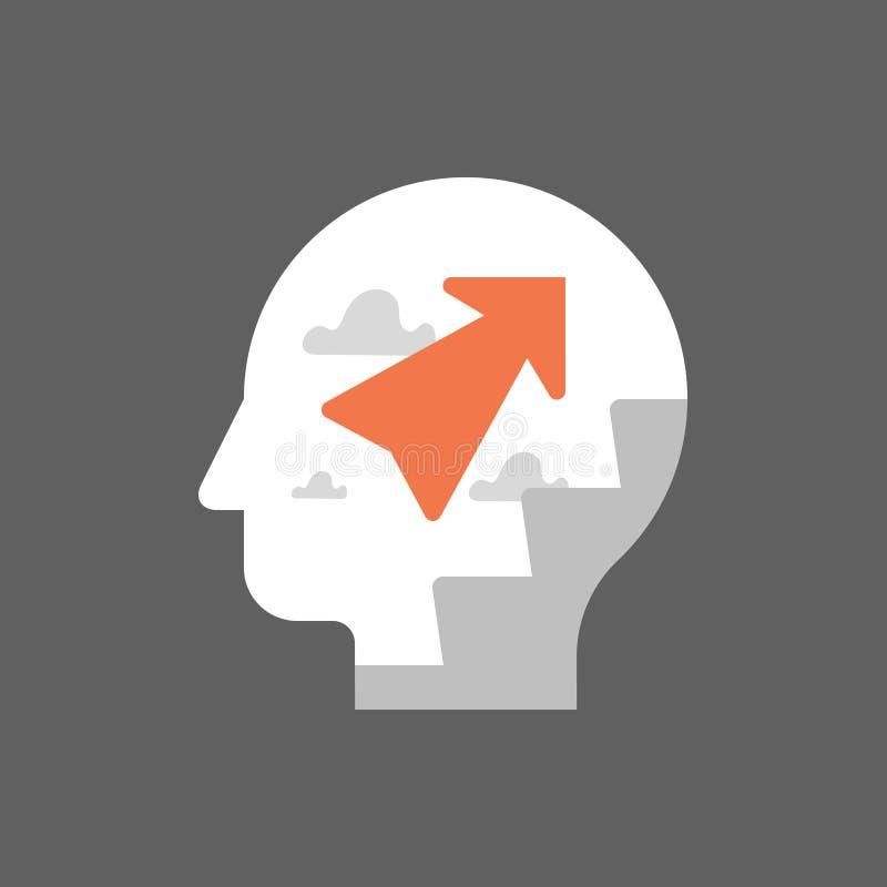 Estrategia de desarrollo personal, concepto del crecimiento del uno mismo, potencial, escalera de la carrera, modo de pensar posi stock de ilustración
