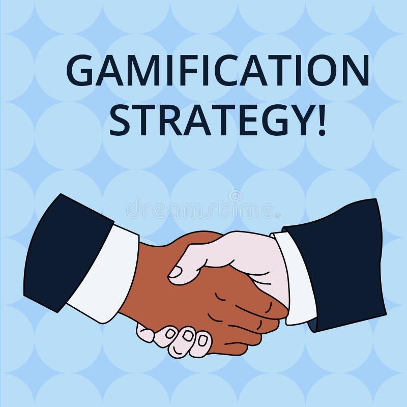 Estrategia de Gamification del texto de la escritura de la palabra El concepto del negocio para las recompensas del uso por la mo stock de ilustración