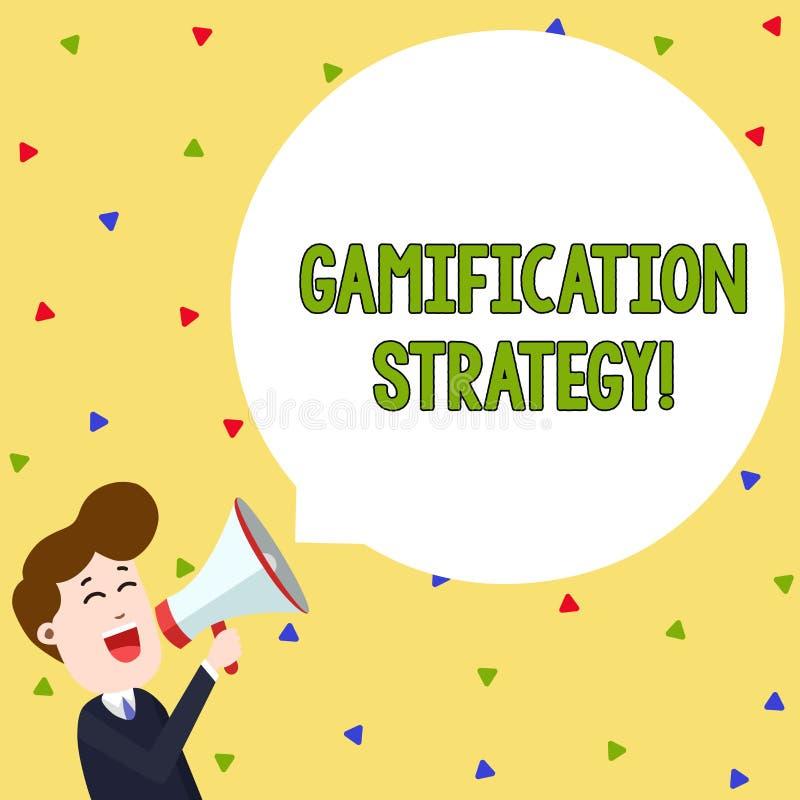 Estrategia de Gamification del texto de la escritura de la palabra El concepto del negocio para las recompensas del uso por la mo ilustración del vector