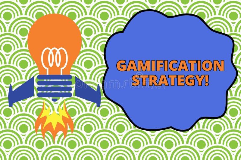 Estrategia de Gamification del texto de la escritura de la palabra El concepto del negocio para las recompensas del uso por la mo libre illustration