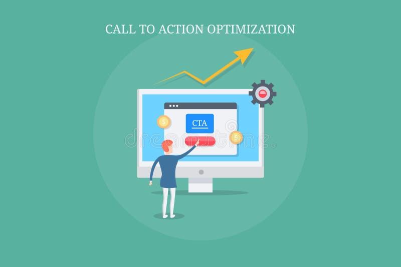 Estrategia de la acción de la llamada, optimización de la página de las ventas, influenciando a usuarios para tomar medidas Bande ilustración del vector