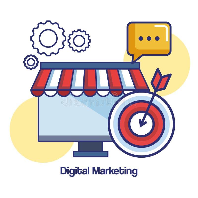 Estrategia de la tienda del mensaje de la blanco del ordenador del márketing de Digitaces ilustración del vector