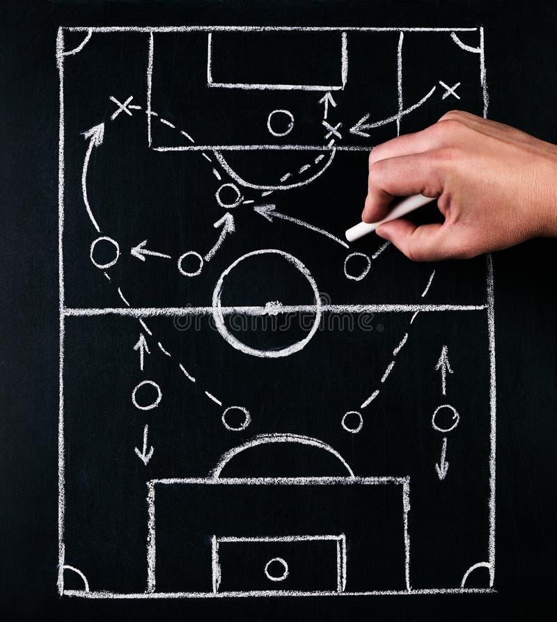Estrategia de las táctica del juego del fútbol o del fútbol, dibujada por la tiza en el tablero de tiza con un entrenador de fútb imagenes de archivo