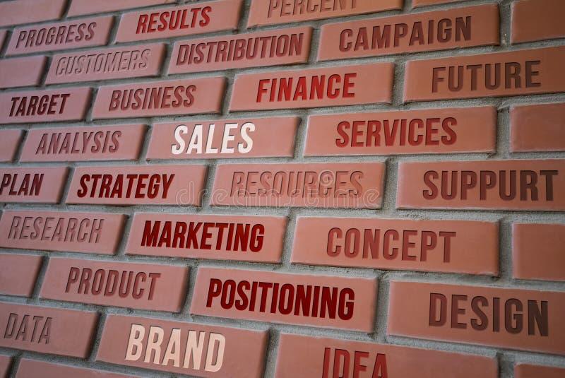 Estrategia de marketing contenta en la pared de ladrillo roja foto de archivo