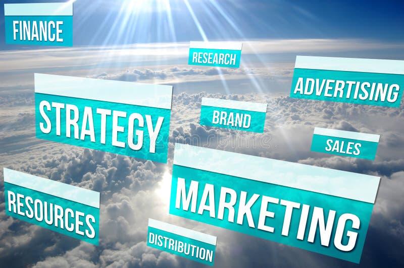Estrategia de marketing contenta sobre las nubes imágenes de archivo libres de regalías