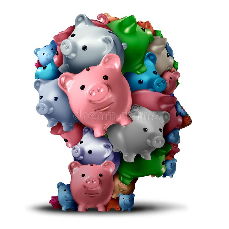 Estrategia del banco y pensamiento financiero stock de ilustración