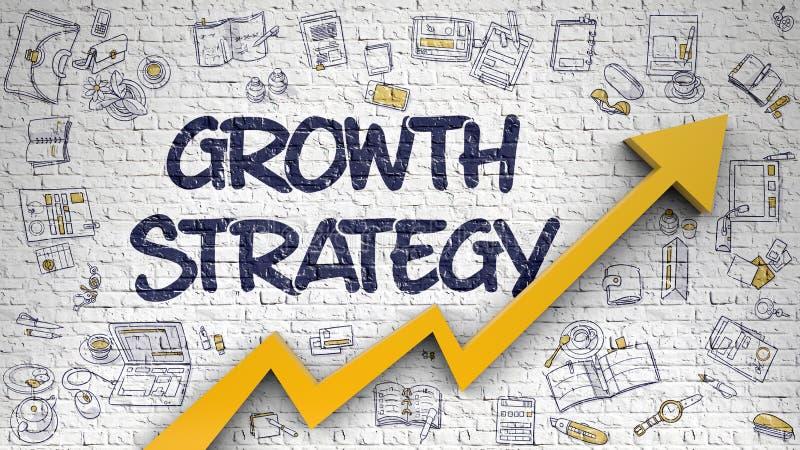 Estrategia del crecimiento dibujada en la pared de ladrillo blanca stock de ilustración
