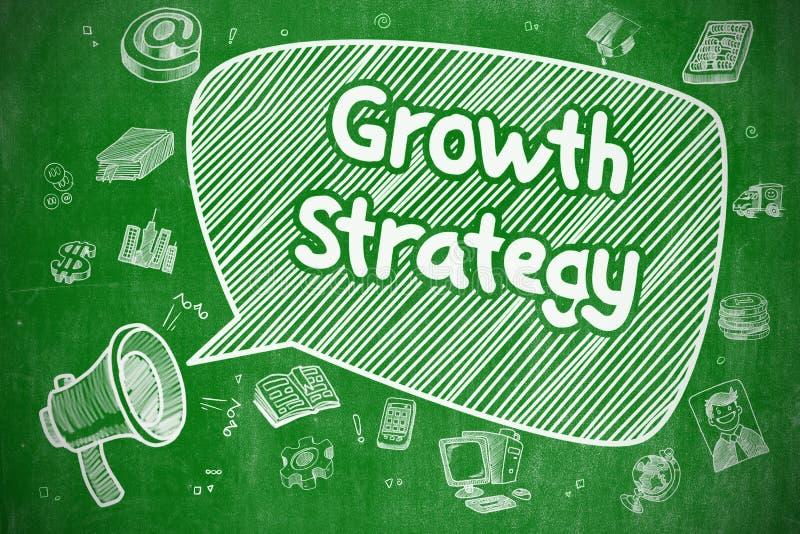 Estrategia del crecimiento - ejemplo de la historieta en la pizarra verde stock de ilustración
