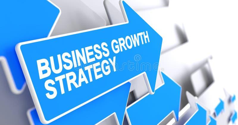 Estrategia del crecimiento del negocio - inscripción en indicador azul 3d ilustración del vector