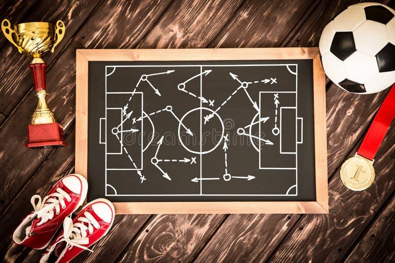 Estrategia del juego de fútbol foto de archivo