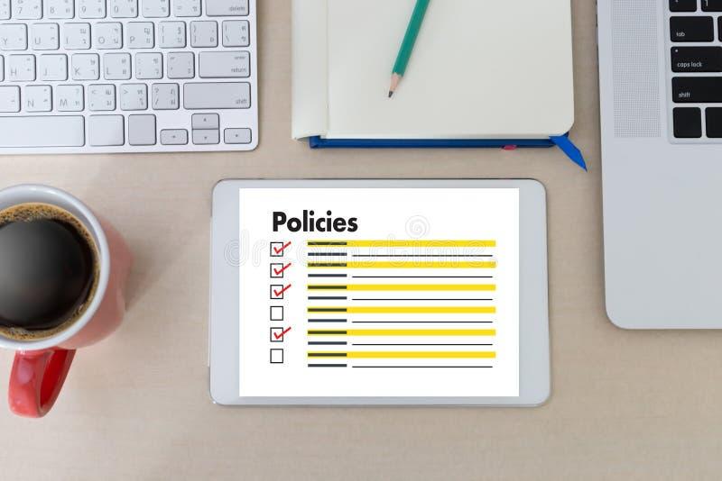 Estrategia del principio de la información de los ajustes de la política de privacidad de las políticas fotografía de archivo