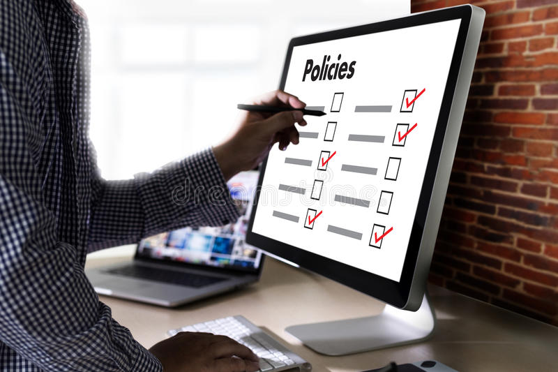 Estrategia del principio de la información de los ajustes de la política de privacidad de las políticas fotografía de archivo libre de regalías