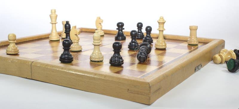 Estrategia empresarial blanco y negro del juego de ajedrez foto de archivo libre de regalías