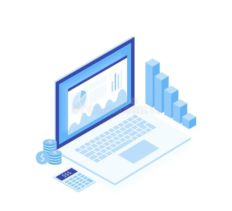 estrategia empresarial del concepto Datos e inversión del análisis Elementos isométricos Éxito de asunto stock de ilustración