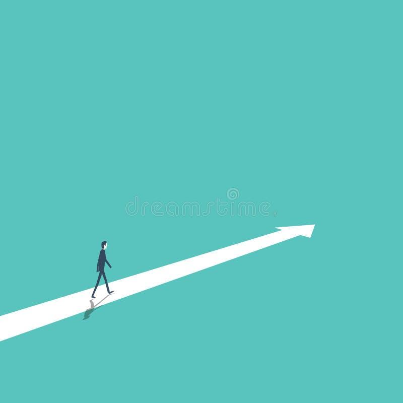 Estrategia empresarial, plan, decisión, concepto del vector de dirección con el hombre de negocios que camina adelante al éxito y ilustración del vector