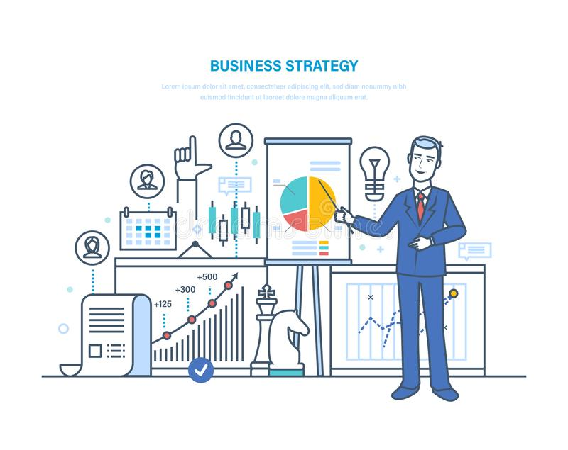 Estrategia empresarial, plan del trabajo Investigación financiera, márketing, estrategia, investigación, análisis stock de ilustración
