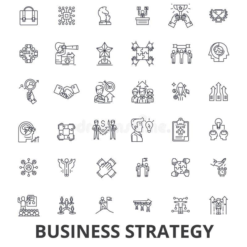 Estrategia empresarial, plan empresarial, negocio, concepto de la estrategia, márketing, línea iconos de la visión Movimientos Ed stock de ilustración