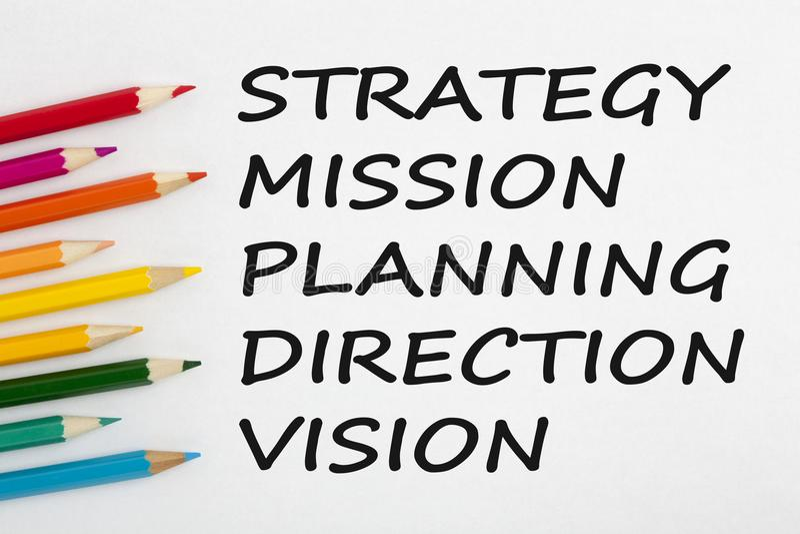 Estrategia, misión, planeamiento, dirección y concepto de Vision imagenes de archivo