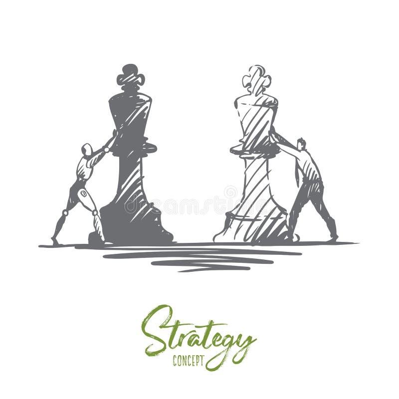 Estrategia, propósito, HCI, automatización, tecnología, concepto del hombre de negocios Vector aislado dibujado mano ilustración del vector