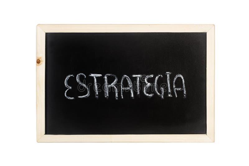 Estrategia strategii słowo pisze w kredzie na blackboard obrazy royalty free