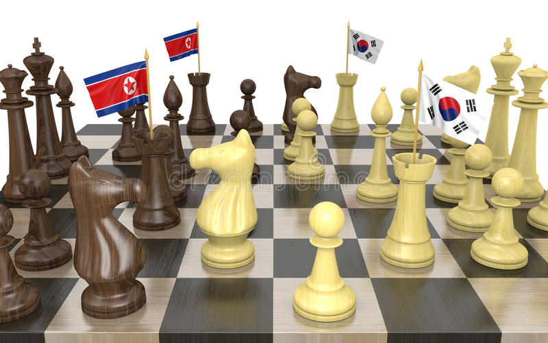 Estrategia y lucha de poder de la política exterior de Corea del Norte y de la Corea del Sur libre illustration