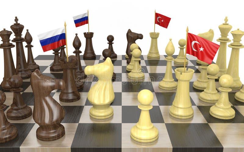 Estrategia y lucha de poder de la política exterior de Rusia y de Turquía stock de ilustración