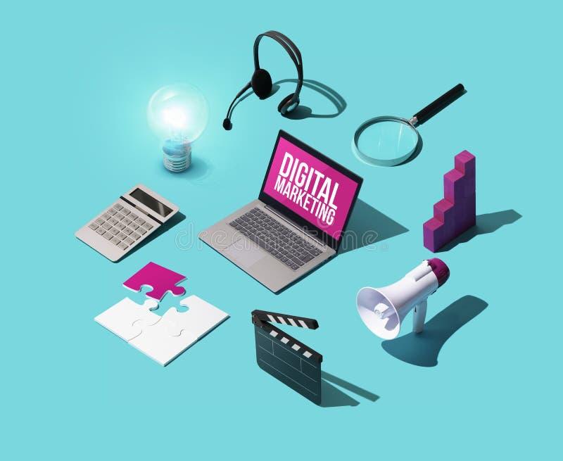 Estrategias del márketing y de la comunicación de Digitaces imágenes de archivo libres de regalías
