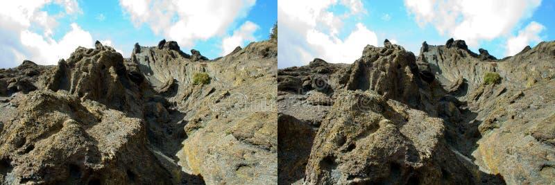 Estratos geológicos dos pares estereofônicos fotografia de stock royalty free