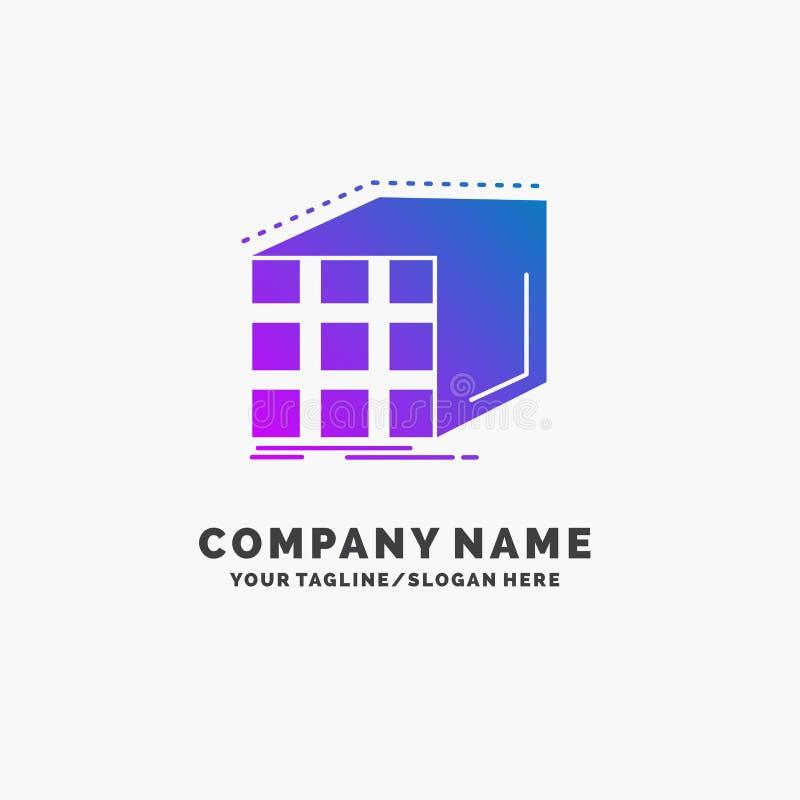 Estratto, aggregazione, cubo, dimensionale, affare porpora Logo Template della matrice Posto per il Tagline illustrazione vettoriale