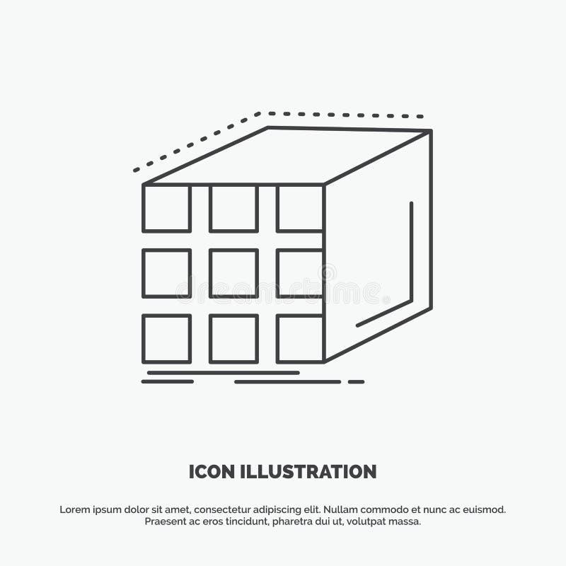 Estratto, aggregazione, cubo, dimensionale, icona della matrice Linea simbolo grigio di vettore per UI e UX, sito Web o applicazi royalty illustrazione gratis