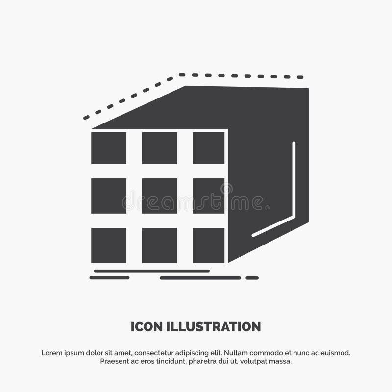 Estratto, aggregazione, cubo, dimensionale, icona della matrice simbolo grigio di vettore di glifo per UI e UX, sito Web o applic royalty illustrazione gratis
