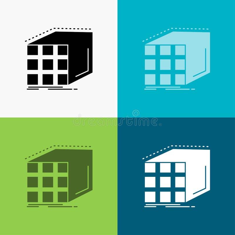 Estratto, aggregazione, cubo, dimensionale, icona della matrice sopra vario fondo progettazione di stile di glifo, progettata per illustrazione vettoriale