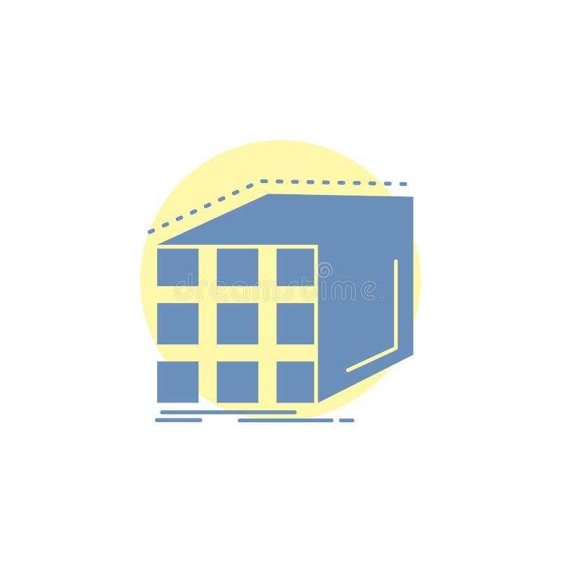 Estratto, aggregazione, cubo, dimensionale, icona di glifo della matrice illustrazione di stock