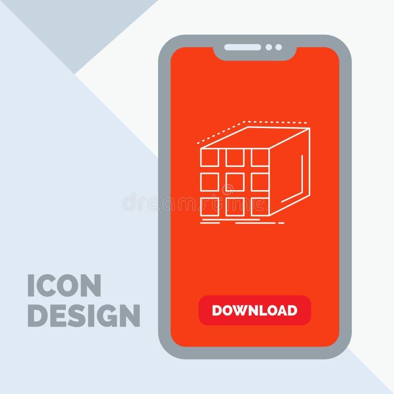 Estratto, aggregazione, cubo, dimensionale, linea icona della matrice in cellulare per la pagina di download illustrazione di stock